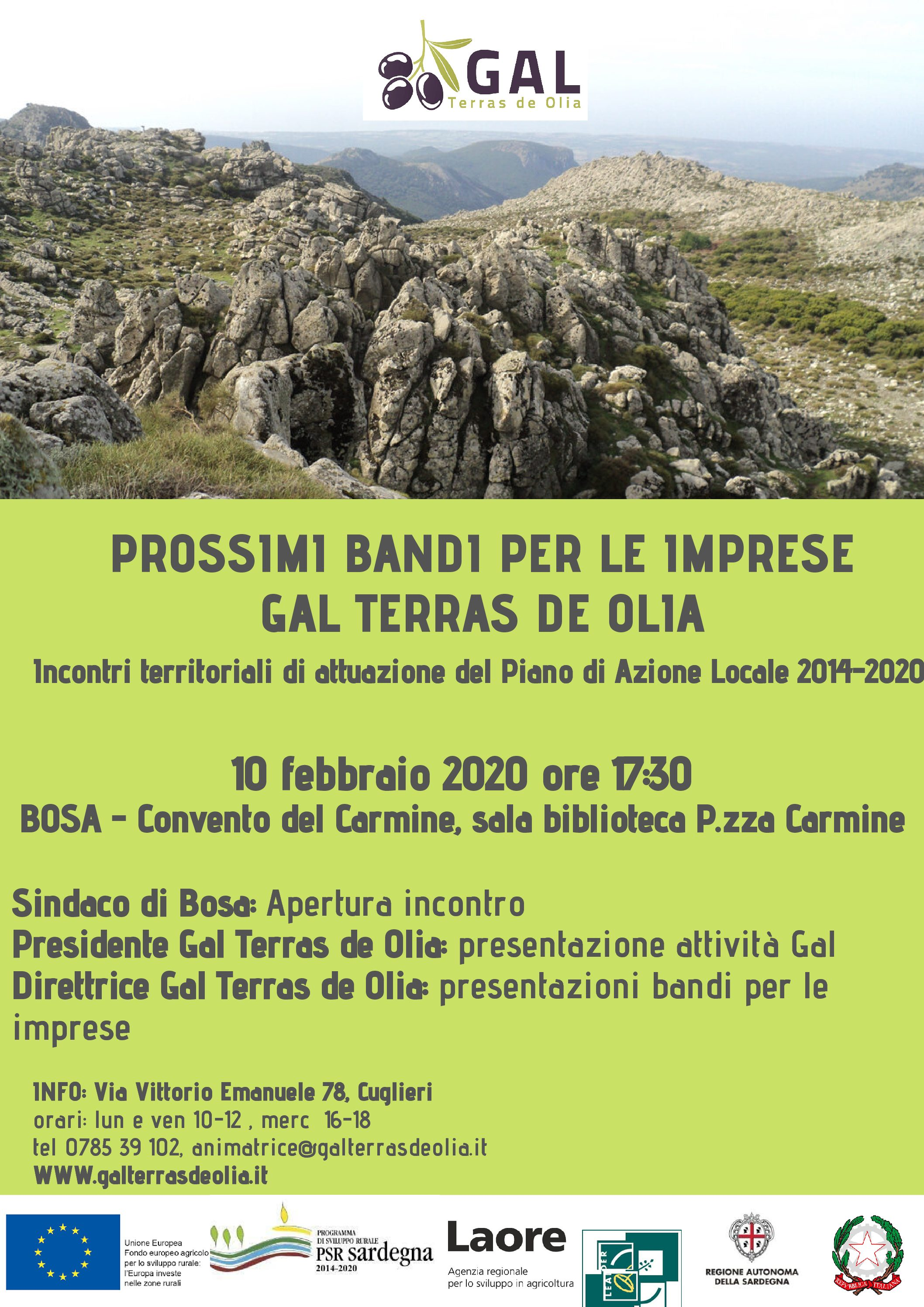 Incontro territoriale a Bosa 10 febbraio 2020 ore 17:30