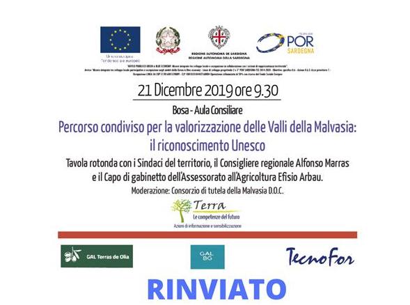 """RINVIO Seminario """"Percorso condiviso per la valorizzazione delle Valli della Malvasia: il riconoscimento Unesco"""""""