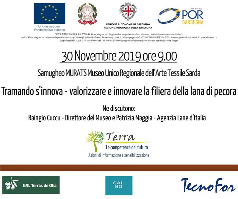 """Seminario progetto Terra """"Tramando s'innova – valorizzare e innovare la filiera della lana di pecora"""""""