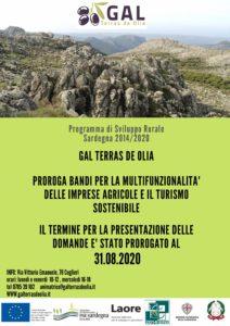 PROROGA AL 31.08.2020 PRESENTAZIONE DOMANDE BANDI PER MULTIFUNZIONALITA' AGRICOLA E TURISMO SOSTENIBILE