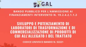 Infografica Bando Sviluppo e Potenziamento di Laboratori di Trasformazione e di Commercializzazione di Prodotti di cui all'allegato I del Trattato
